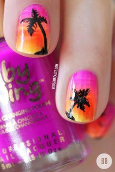 Idea de uñas para la fiesta hawaiana