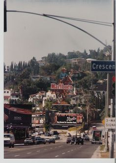 Looking west down Sunset Blvd. from Crescent Heights Blvd., Los Angeles, circa 1984