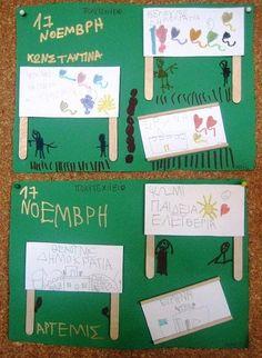 Ειδική Διαπαιδαγώγηση : Καταπληκτικές κατασκευές για το Πολυτεχνείο (Ιδέες) Messy Play, Kindergarten Crafts, National Holidays, November 17, Classroom Organization, Art For Kids, Activities For Kids, Diy And Crafts, Projects To Try
