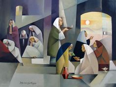 by Jorge Cocco Santángelo ( Salt Lake City, UT.) The Ten Virgins The location of the two groups is clearly differentiated; it serves to describe the tale and to provide symbolism. A) The group of the foolish virgins on the left are placed in the … Lds Art, Bible Art, Christian Artwork, Christian Paintings, Cubist Movement, Bible Illustrations, Jesus Art, Biblical Art, Jesus Pictures