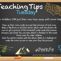 Teaching Tips Tuesday: A fun and creative way to encourage your toddler to keep their room clean. Enjoy! ~Tan