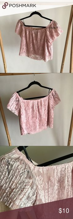 BLUSH off the shoulder lace crop top Never been worn! Lace crop top! Wear either on or off the shoulder! Forever 21 Tops