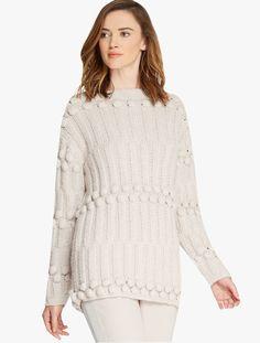 V Back Sweater W Stitch Detail
