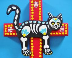 Day of the Dead CAT Cross Mexican Folk Art Pet Shrine by Janny Dangerous Mexican Paintings, Arts Ed, Mexican Folk Art, Day Of The Dead, Shadow Box, Cat Art, Art Day, Sugar Skull, Tribal Tattoos