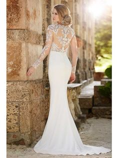 Gallery: Sheer Back and Long Sleeve Antique Lace Top Wedding Dress with Covered Button Back - Deer Pearl Flowers Vintage Inspired Wedding Dresses, 2016 Wedding Dresses, Wedding Attire, Wedding Gowns, Lace Wedding, Wedding Blog, Vintage Bridal, Wedding Beauty, Dress Vintage
