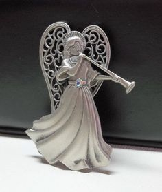 Angel with Trumpet JJ pin brooch pewter by dollherup on Etsy, $18.00