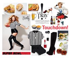 """Game On! Super Bowl Party- Polyvore Contest"" by helen5526 ❤ liked on Polyvore featuring interior, interiors, interior design, home, home decor, interior decorating, ThinkGeek, Spiegelau, Denby and Creative Converting"