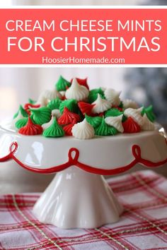 Cream Cheese Mints :: These easy to make - 4 ingredient - Cream Cheese Mints Recipe makesthe perfect addition to your Christmas dessert table! Or give them as gifts! Easy Christmas Candy Recipes, Holiday Candy, Christmas Snacks, Christmas Cooking, Holiday Desserts, Holiday Baking, Holiday Recipes, Homemade Christmas Candy, Christmas Treats For Gifts