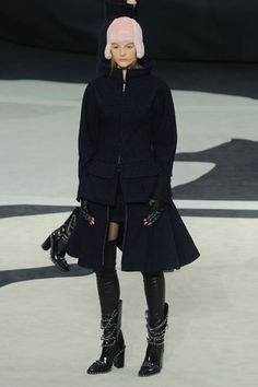 "Chanel Fall 2013 Nipped in waist, wide shoulder, and full skirt tribute Dior's ""New Look"""
