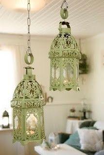 green distressed lanterns!