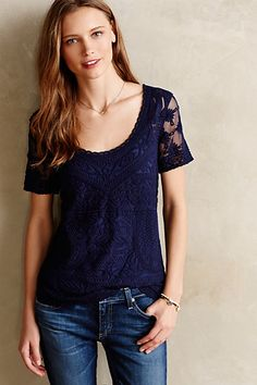 Embroidered Mesh Tee anthropologie.com #anthrofave