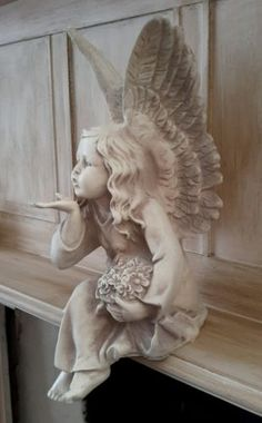 Antique #white sitting fairy angel blowing a kiss #figure statue #shabby chic , View more on the LINK: http://www.zeppy.io/product/gb/2/322026884410/