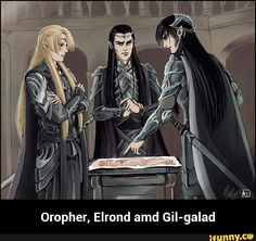 Oropher, Elrond and Gil-galad -- To Thranduil's dismay, his Father, Oropher, refuses to heed Gil-Galad's advice. Neither of them will survive The War pf the Last Alliance of Men and Elves. Aragorn, Legolas, Glorfindel, Gil Galad, Lotr Elves, Elf Art, J. R. R. Tolkien, Fanart, Elvish