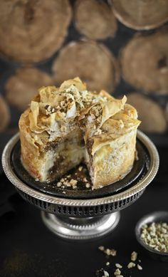 Baklava Cheesecake...a twist on the Greek classic, with Greek yogurt replacing some of the cream cheese.