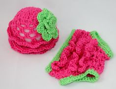 Newborn Ruffle Hat and Diaper cover Set