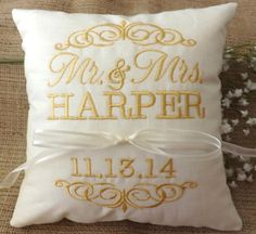 Ring Bearer Pillow with date of wedding and wedding couple names https://www.etsy.com/listing/182232746/ring-bearer-pillow-mr-mrs-ring-pillow