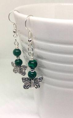 Dark green malachite butterfly earrings, Green malachite gemstone, Green silver earrings, Healing jewelry, Crystal earrings, Gift for her