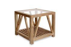 Mesa auxiliar con revistero en madera y hierro. Realzada en madera de abedul. Medidas 60*60*55