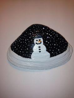 Painted Seashell Happy Winter by Sheila's Garden Girls LLC in Ocean City NJ. Like us on Facebook. 609-675-0364
