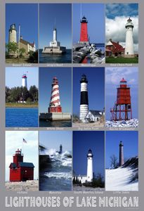 """Lighthouses of Lake Michigan Poster by Phil Borkowski. """"Lighthouses have been one of my primary subjects for 30 years. A few years ago a friend who we often travel with asked for posters of the lighthouses of the countries we've traveled to together. That was the start of these small posters."""" Size: 13""""x19"""". Price: $20.00 On Artful Vision, www.artfulvision.com a portion of your purchase is donated to a participating non-profit of your choice. #art #posters #prints #lighthouses #Michigan"""