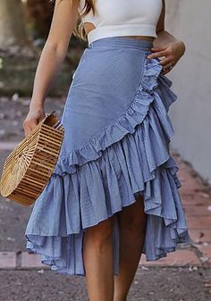 Available Sizes : S;L Length(cm) : Waist(cm) : Hip(cm) : Type : Slim Material : Cotton Blend Pattern : Plain Length Style : Below Knee Decoration : Draped, Irregular, Ruffle Color : Blue Midi Skirt Outfit, Winter Skirt Outfit, Casual Skirt Outfits, Classy Outfits, Casual Skirts, Work Outfits, Pencil Skirt Casual, Pencil Skirts, Bohemian Skirt
