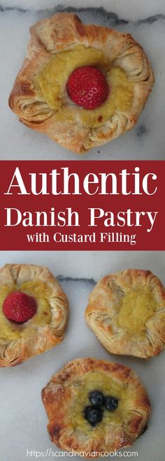 I love to add fresh berries on my Danish pastries (Wienerbrød) that has a custard filling in the center.  Especially while we can get fresh berries in the grocery stores. As we get closer to the holidays I will probably start making these sweet pastries with other fillings such as almond paste.  What type of filling do you like on your Danish Pastries? Check out or recipe video https://youtu.be/GwDMWy84HT0
