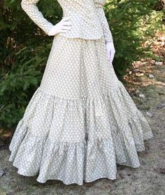 Calico Skirt By Recollections $89.95US A pretty graceful cotton skirt has two flounces, an elastic waist, and is available in boot or floor length.