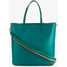 Anya Hindmarch Smiley Featherweight Ebury Leather Tote ($995) ❤ liked on Polyvore featuring bags, handbags, tote bags, blue totes, blue leather purse, blue tote bag, leather tote and perforated leather tote