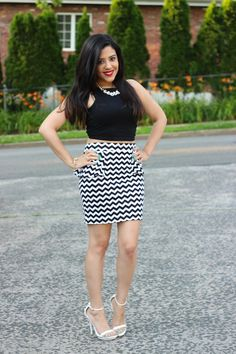The lovely blogger Naty Michele looking stunning in her latest outfit of the day, featuring a Charlotte Russe chevron skirt! See more on A Love Affair With Fashion