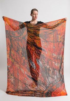 Benny Setti Modal/Cashmere Feather Whisper Print Scarf in Orange