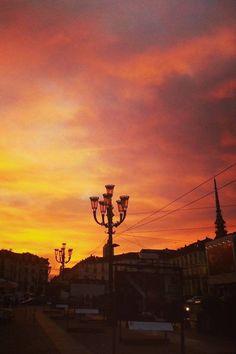 Torino #tramonto in Piazza Vittorio #sunset