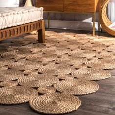 nuLOOM Alexa Eco Natural Fiber Braided Reversible Circles Jute Rug x Rope Crafts, Diy Home Crafts, Decor Crafts, Rope Rug, Decoration Table, Bed Furniture, Floor Rugs, Diy Projects, Natural Rug