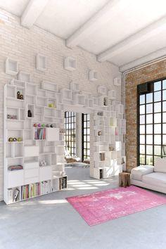 Libreria componibile laccata in MDF Parete attrezzata modulare by Cubit by Mymito   design Cubit