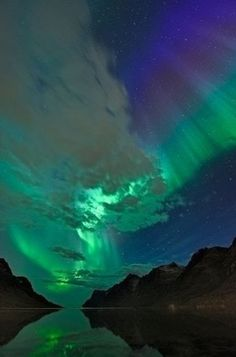 Northern lights in Ersfjord, Norway