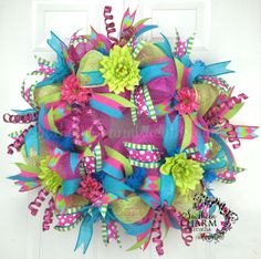 Deco Mesh Summer Wreath -Hot Pink -Turquoise -Lime -Door Decor by www.southerncharmwreaths.com $87
