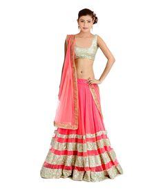 Kumari Sarees Pink Net Lehenga - http://weddingcollections.co.in/product/kumari-sarees-pink-net-lehenga/