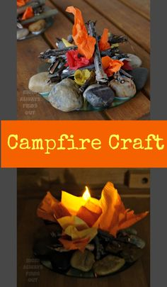 Campfire Craft and Camping Party Decor: Build a mini campfire from rocks and sticks. Add a flameless tealight candle for a realistic glow effect! Camping Party Decorations, Camping Parties, Camping Theme, Camping Crafts, Camping Hacks, Campfire Crafts For Kids, Tea Light Candles, Tea Lights, Fake Campfire