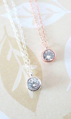 Simple Diamond Drop necklace - Silver necklace, cubic zirconia pendant , crystal, chic, pretty, dainty