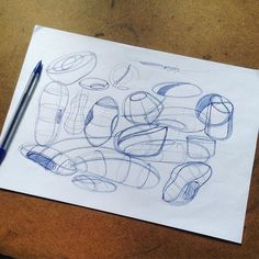 Warm up #fast #drawing #line #shapes #forms #contouring #practice #warmup #blue #ball #point #pen