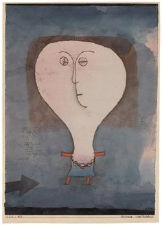 Paul Klee, Fright of a Girl, 1922. Watercolor, india ink and oil transfer drawing on paper, with India ink on paper mount, sheet: 11 3/4 x 8 5/8 inches (29.7 x 22 cm); mount: 12 7/8 x 9 1/16 inches (32.7 x 23 cm)