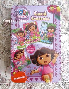 Dora The Explorer 4 Card Games Go Fish Crazy Eights Rummy Memory Match Tin New