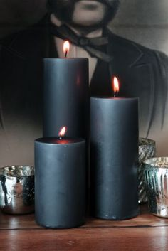 Set of 3 Grey Church Candles