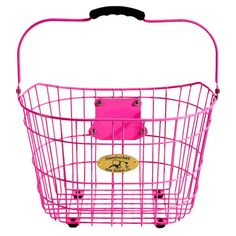 Wire bicycle basket in pink with brackets that attach to handlebars.   Product: Bicycle basketConstruction Material: ...