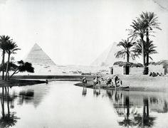 Pyramids of Khufu and Khafra from the Nile Floods, Zangaki (fl.1880s).