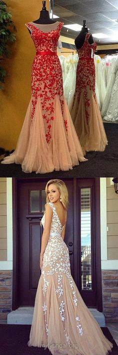 Popular Prom Dresses, Trumpet/Mermaid Prom Dress, Tulle Long Formal Dresses, Lace Evening Party Gowns
