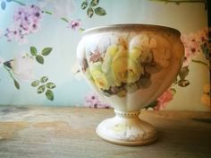 Limoges style porcelain rose bowl, Rose print urn, Pedestal foot jardiniere Hand painted porcelain Antique shabby chic posy bowl cream roses