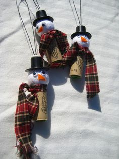Wine Cork Snowman Ornaments