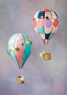Hot Air Balloon, Set of 2 - Glitterville Studios Hot Air Balloon Paper, Diy Hot Air Balloons, Hot Air Ballon Diy, Nursery Hot Air Balloon, Paper Mache Balloon, Balloon Painting, Hot Air Balloon Centerpieces, Balloon Decorations, Ballon Crafts