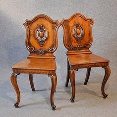 Antique Pair Hall Chairs Quality Mahogany Cabriole Leg Victorian English c1860