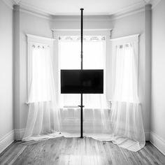 Smart home TV pole Tv Stand Pole, Modern Tv, Modern Design, Media Furniture, Home Tv, Wall Mounted Tv, Shelf Design, Glass Shelves, Smart Home